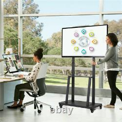 32-80 Height Adjustable Mobile TV Stand Mount with 2 Tier Shelf Lockable Wheels