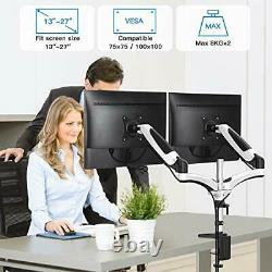 HUANUO Aluminum Dual Monitor Mount Height Adjustable, Gas Spring Arm 360 °