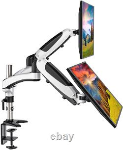 HUANUO Aluminum Dual Monitor Mount Height Adjustable, Gas Spring Arm 360 ° for 2