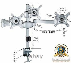 MDM06 Triple Three Monitor Arm Desk Stand Mount with Adjustable Height & Brackets