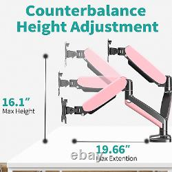MOUNT PRO Pink Dual Monitor Desk Mount Stand Height Adjustable Gas Spring