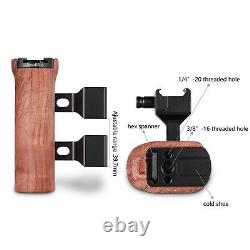 SMALLRIG Wooden Handle with NATO Clamp, Cold Shoe Mount Height &Side Adjustable
